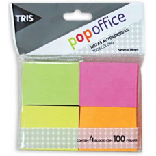 Bloco Autoadesivo 50x38mm Com 100fls 4un T003 Pop Office Tris